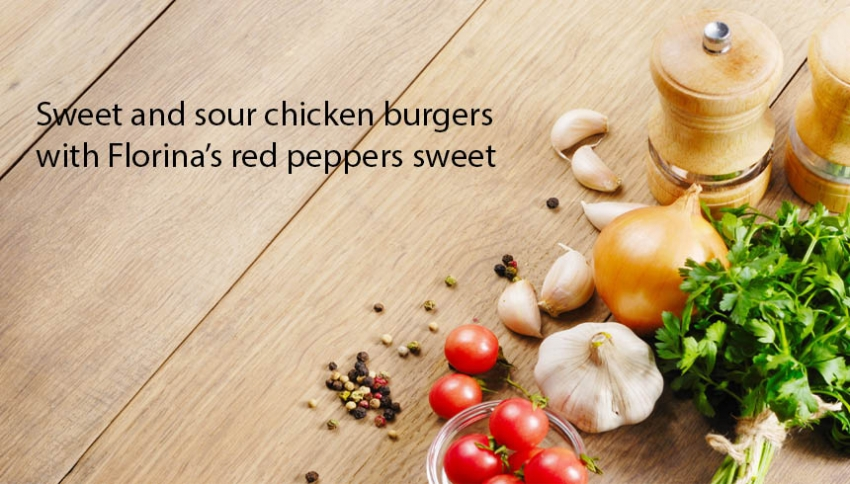 Chicken burger with Florina's red pepper spoon sweet